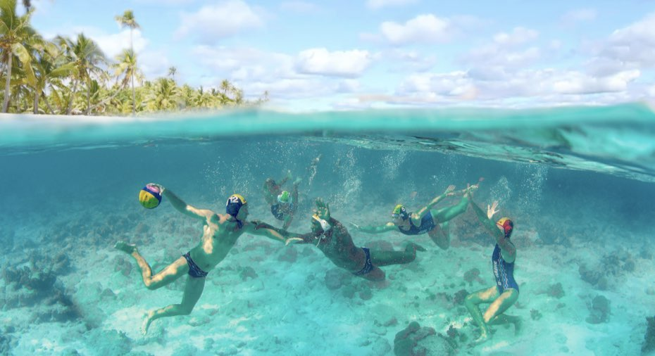 Water polo in the Caribbean Sea